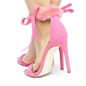 Pink Trendy Fur Heels Open Toe Stiletto Heel Sandals