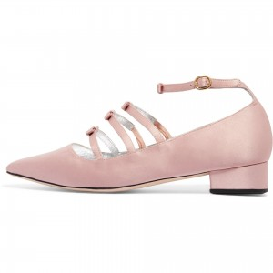Pink Tri Straps Mary Jane Shoes Chunky Heel Ankle Strap Pumps