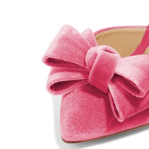 Women's Pink Bow Stiletto Heel Mules