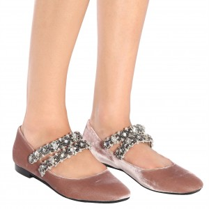 Blush Velvet Mary Jane Shoes Rhinestone Strap Square Toe Flats