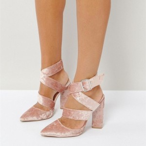 Pink Velvet Strappy Sandals Pointy Toe Chunky Heels Slingback Shoes
