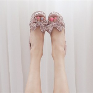 Pink Sparkly Wedding Shoes Peep Toe Platform Heels Pumps with Bow