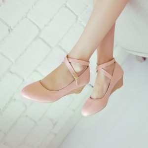 Pink Wedge Heels Closed Toe Crisscross Strap Low Heel Pumps
