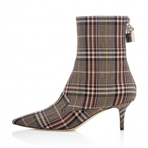 Plaid Pointy Toe Lock Kitten Heel boots