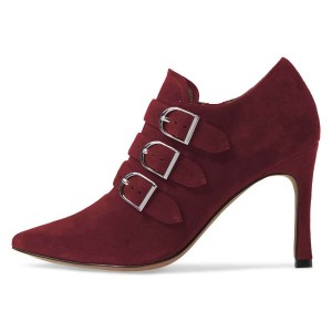 Plum Suede Buckles Stiletto Heel Ankle Booties