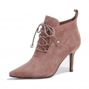 Old Pink Suede Lace up Boots Pointy Toe Stiletto Heel Ankle Booties