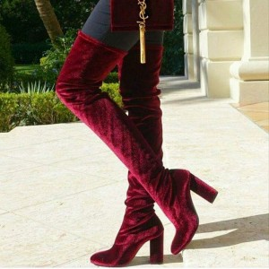 Maroon Velvet Boots Chunky Heel Thigh High Boots