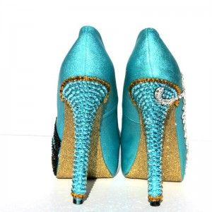 Princess Jasmine Turquoise Platform Heels Rhinestone Pumps for Halloween
