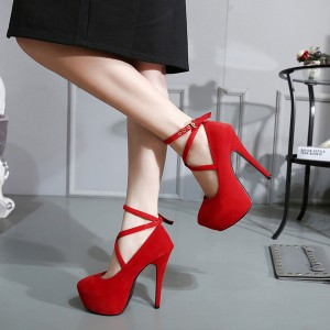 Women's Coral Red Ankle Strap Buckle Stiletto Pumps Heels Shoes
