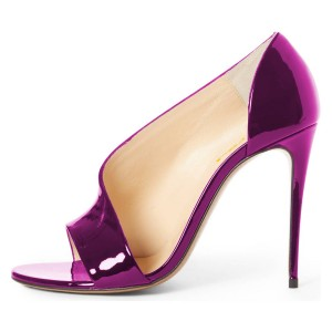 Purple Open Toe Stiletto Heels Mirror Leather Pumps