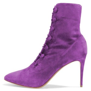 Purple Agraffe Stiletto Boots Ankle Booties