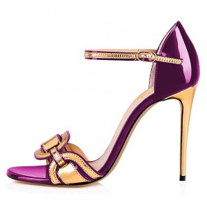 Purple and Gold Open Toe Stiletto Heel Ankle Strap Sandals
