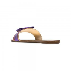 Purple and Golden PU Flat Bow Women's Slide Sandals