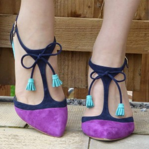 Purple and Navy T-Strap Heels Pointed Toe Stiletto Heel Office Heels