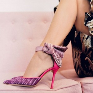 Purple and Red Satin Bow Ankle Strap Heel Pumps