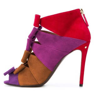 Purple and Tan Suede Multi Bows Peep toe Stiletto Heel Summer Boots