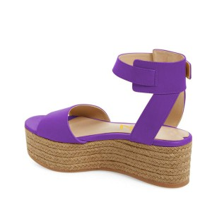 FSJ Purple Platform Sandals Open Toe Ankle Strap Shoes US Size 3-15