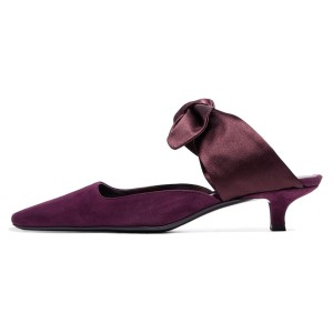 Purple Bow Pointy Toe Kitten Heel Mules