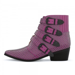 Purple Buckles Studs Fashion Boots Block Heel Ankle Boots