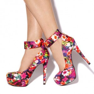Purple Floral Heels Ankle Strap Pumps Stiletto Heels Platform Pumps