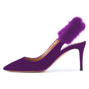 Purple Furry Stiletto Heels Slingback Pumps