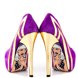 Purple Heels Almond Toe Stiletto Heels Pumps Platform Heels for Women