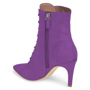 Purple Lace up Boots Elegant Pointed Toe Ankle Booties with Zipper