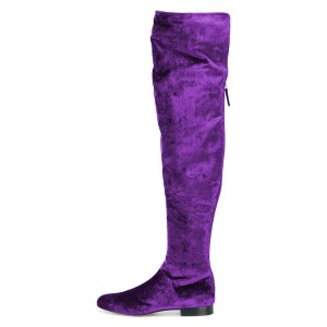 Purple Long Boots Round Toe Flat Over-the-Knee Boots