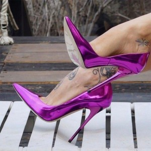 Purple Low Cut Upper Stiletto Heels Pumps