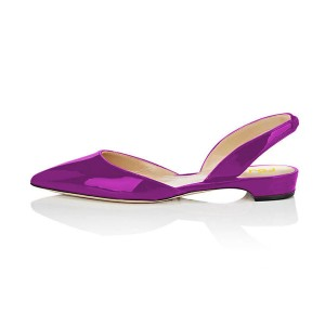 Purple Metallic Slingback Shoes Pointy Toe Comfortable Flats