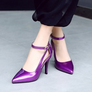 Purple Ankle Strap Heels Patent Leather Cut out Stiletto Heel Pumps