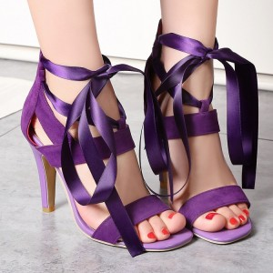Women's Purple Open Toe Hollow out Stiletto Heel Strappy Sandals