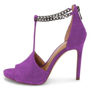 Purple Open Toe Suede T Strap Sandals Stiletto Heel Sandals