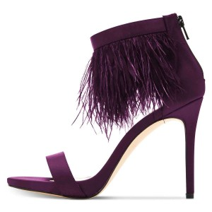 Purple Satin Ankle Strap Heels Feather Sandals