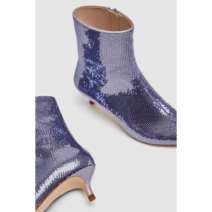 Purple Sequin Boots Pointy Toe Kitten Heel Ankle Booties