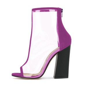 Purple Short Boots Peep Toe Chunky Heel Fashion Clear Ankle Boots