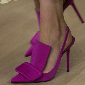 Purple Slingback Heels Pumps
