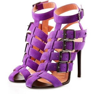 Purple Stiletto Heels Buckles Suede Ankle Strap Sandals for Women