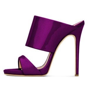 Purple Stiletto Heels Mule Heels