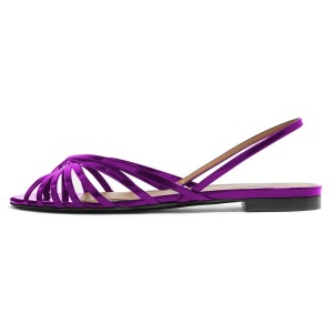 Purple Strappy Slingback Comfortable Flats Sandals