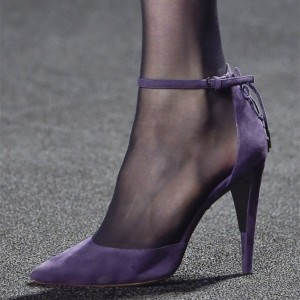 Purple Suede Ankle Strap Heels Pumps for Women