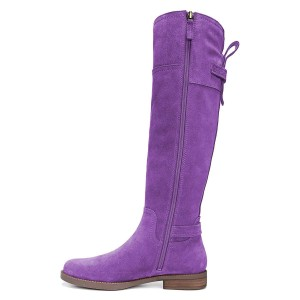 Purple Suede Flat Knee Boots Knee High Boots