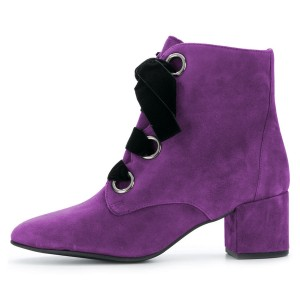 Purple Suede Lace up Block Heels Ankle Booties