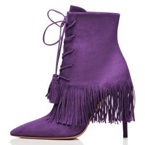 Purple Suede Lace Up Fringe Boots Stiletto Heel Ankle Boots