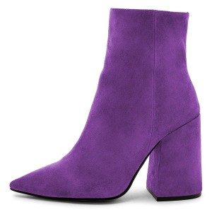 Purple Suede Pointy Toe Block Heel Ankle Booties