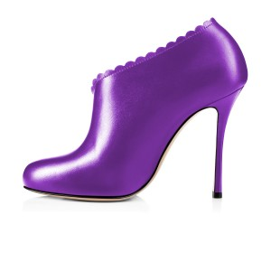 Purple Summer Boots Laciness Cut out Closed Toe Stiletto Heel Booties