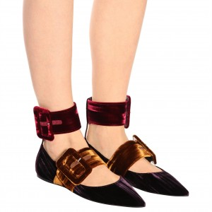 Purple Velvet Mary Jane Shoes Buckles Pointy Toe Flats