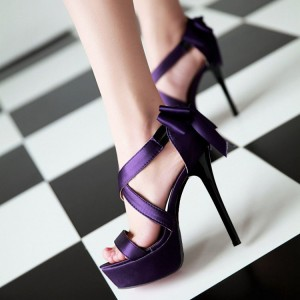 Purple Wedding Sandals Cross Ankle Strap Platform Sandals with Bow