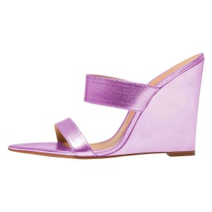 Purple Wedge Heels Mule Sandals