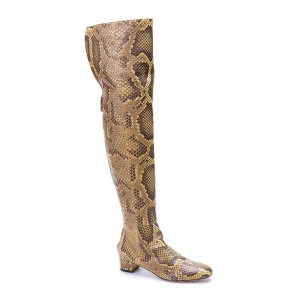Snakeskin Square Toe Boots Low Heel Over-the-Knee Long Boots